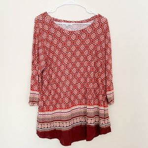 Rose and Olive Abstract Pattern Red Top